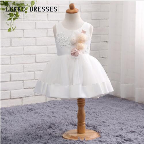 Sleevless White   Flower     Girl     Dresses   Satin With Lace Kids Evening   Dress     Girl   First Communion   Dress
