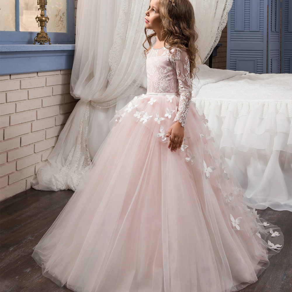Fancy Flower Baby Girl Dress Child Long Sleeves Butterfly Pink Mesh Ball Gowns Kids Holy Communion Dresses 1-14 Year Old 2017