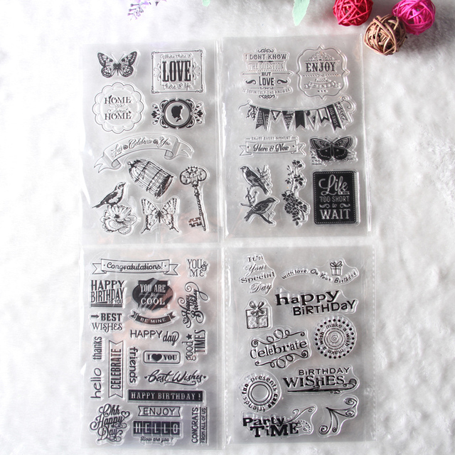 1 sheet DIY Floral Happy Birthday Transparent Clear Rubber Stamp Seal Paper Craft Scrapbooking Decoration