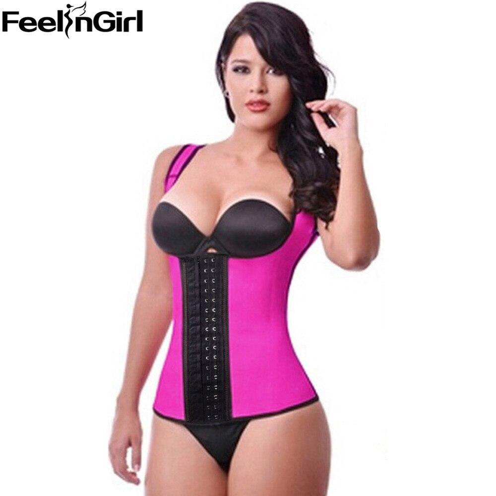 5e94e98897 FeelinGirl Latex Waist Trainer Vest Waist Trainer Corsets Women Latex  Classic Waist Cincher Semi Vest Plus Size Body Shaper B-in Tops from  Underwear ...