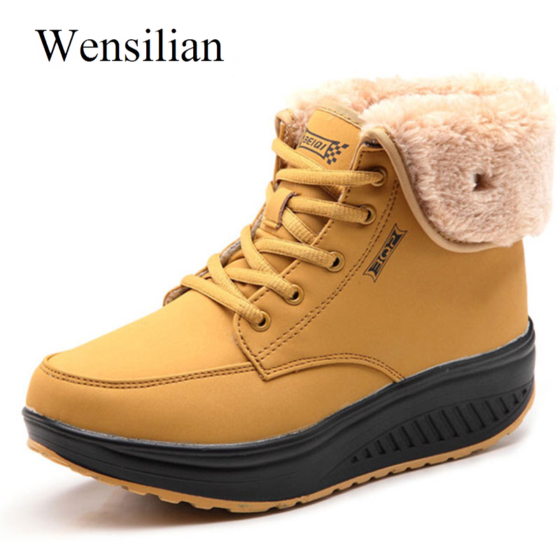 Designer Women Winter Boots Ladies Plush Snow Ankle Boots Female Lace Up Wedges Platform Sneakers Casual Shoes Bottes