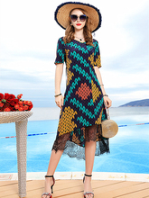2019 Spring Summer New Fashion Womens V-neck Stitching Lace Printed Thin Section Silk Short-sleeved Dress in the Long