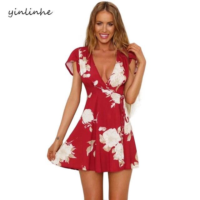 yinlinhe 2018 Wrap/Beach Dresses Women red floral Summer Dress Short Sleeve ropa Sashes Cross Elegant Clothing Boho Style    066