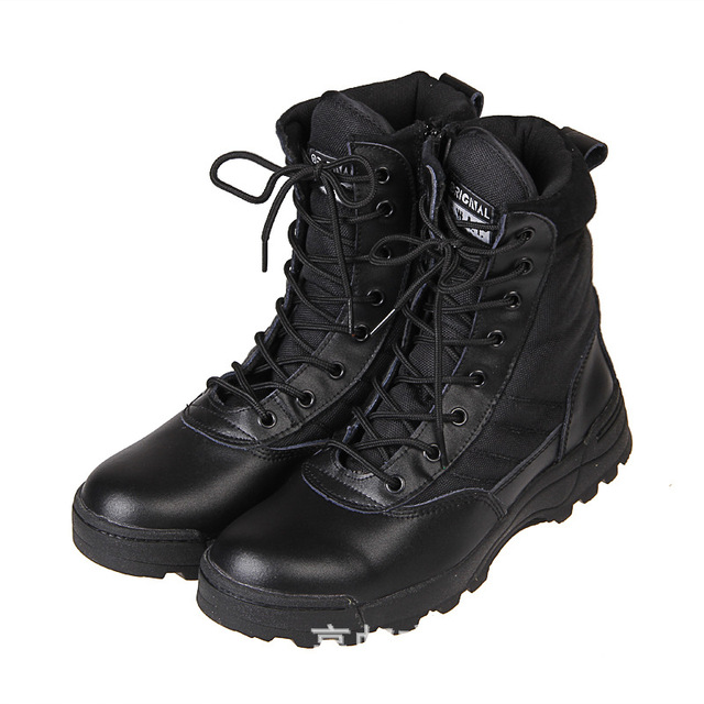 Outdoor Desert Boots Men Hiking Mountain Shoes Botte Homme Big Size Combat Army Boots Leather Swat Military Tactical Boots NSX42