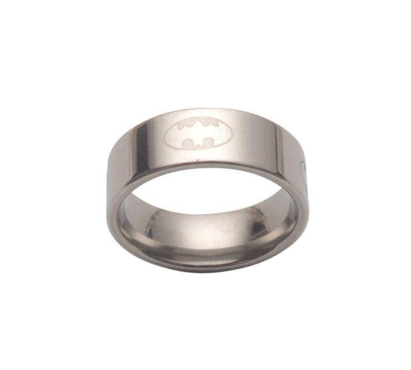 6 шт модный титановый Бэтмен из нержавеющей стали кольцо - Цвет основного камня: Silver Tone