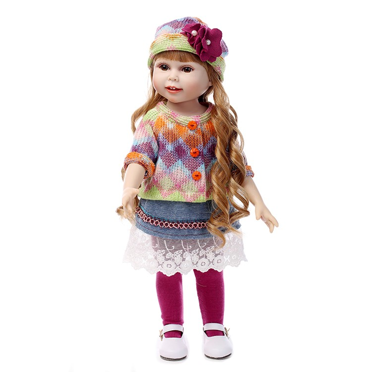 NPK NEW 45CM Realistic Girl Doll Looking American Girl Princess Baby Dolls 18 Inch Safe silicone Girl Dolls for Kids Gift edox les vauberts 63001 37rair