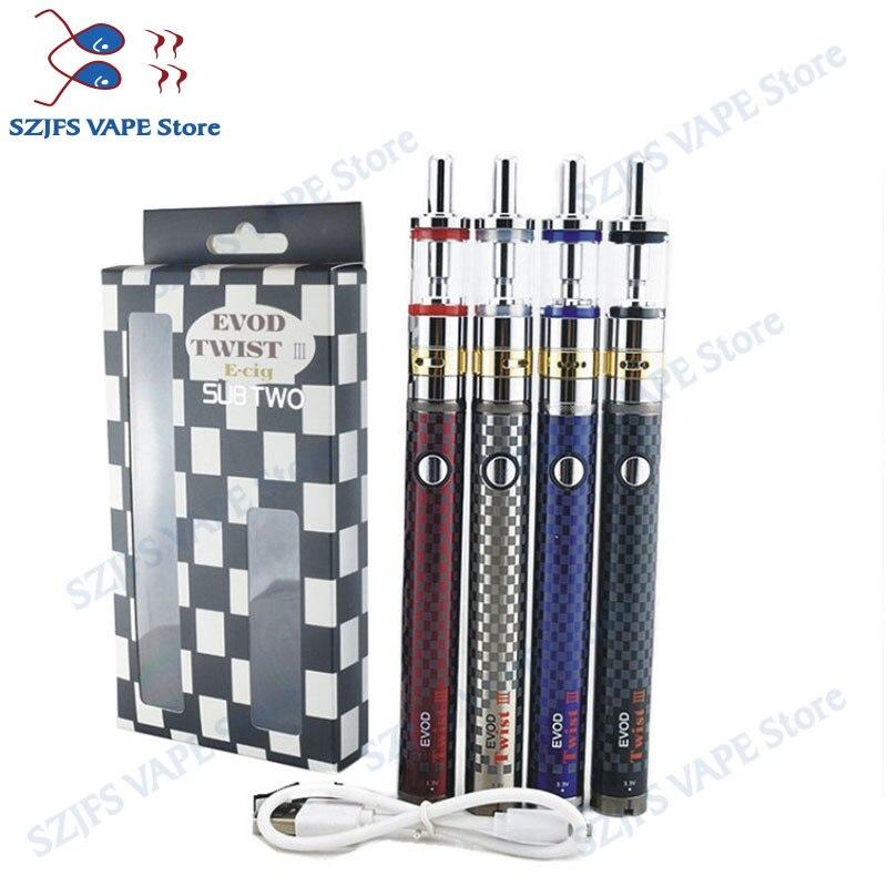 4pcs/lot EVOD Twist III 3.3-4.8V Adjustable Voltage Electronic Cigarette Battery vs Evod II USB 510 Pass Through Vaporizer