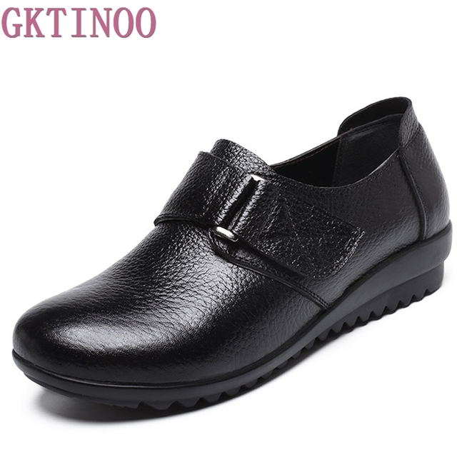 2018 Women Genuine Leather Mother Shoes Moccasins Women's Soft Leisure Flats Female Driving Shoes Flat Loafers size 35-43