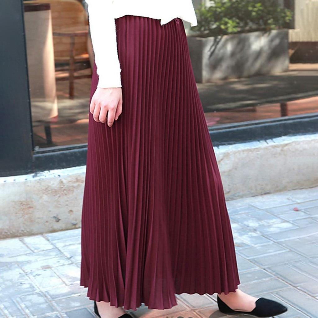Long Skirt Tulle Skirt Skirts Womens Jupe Femme Faldas Mujer Moda Womens Solid Pleated Elegant Midi Elastic Waist Maxi Skirt Z4