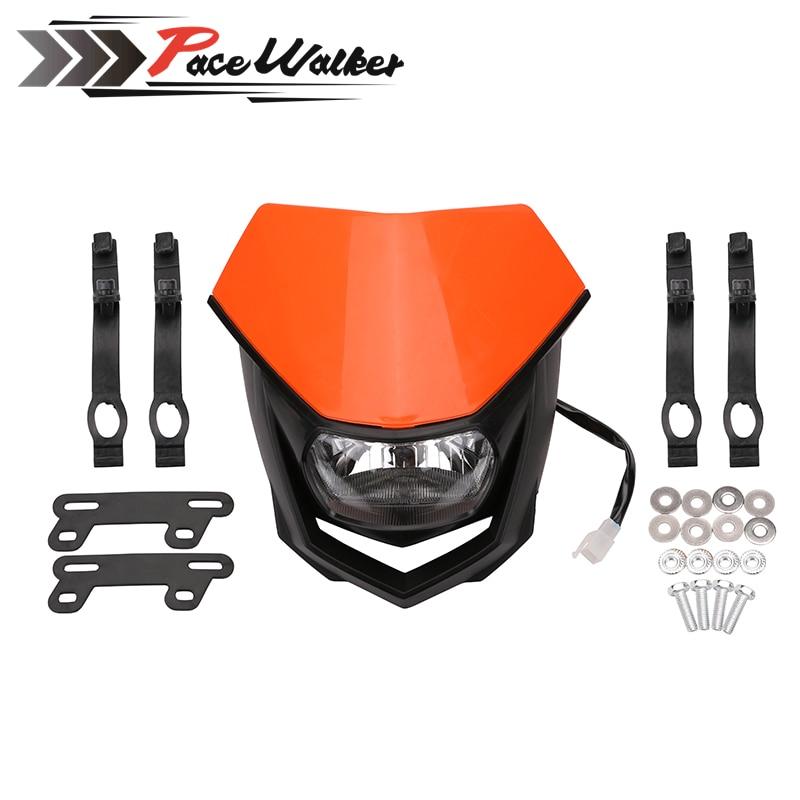 Universal Motorcycle H4 Headlight White Black Enduro Head Light