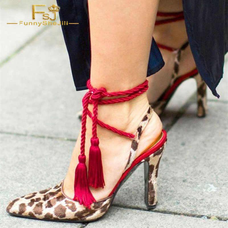 Fsj Zapatos Para Mujer 2018 Primavera Otoño Estampado De Leopardo Tacones Rojos Borlas Tiras Talones Slingback Zapatos De Talla Grande 42 43 44 Zapatos De Tacón De Mujer Aliexpress