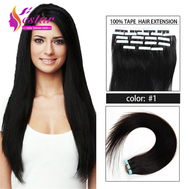 Straight tape in hair extension brazilian human virgin 1 black straight tape in hair extension brazilian human virgin 1 black color pu skin weft pmusecretfo Image collections