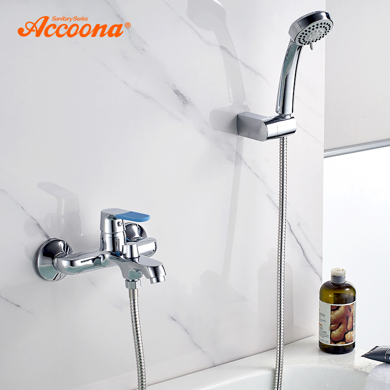 Accoona Bathtub Faucets Wall Mounted Modern Bathroom Faucet Tap Bath Shower Faucet Bathtub Faucet Contemporary Blue Handle A6319 цена