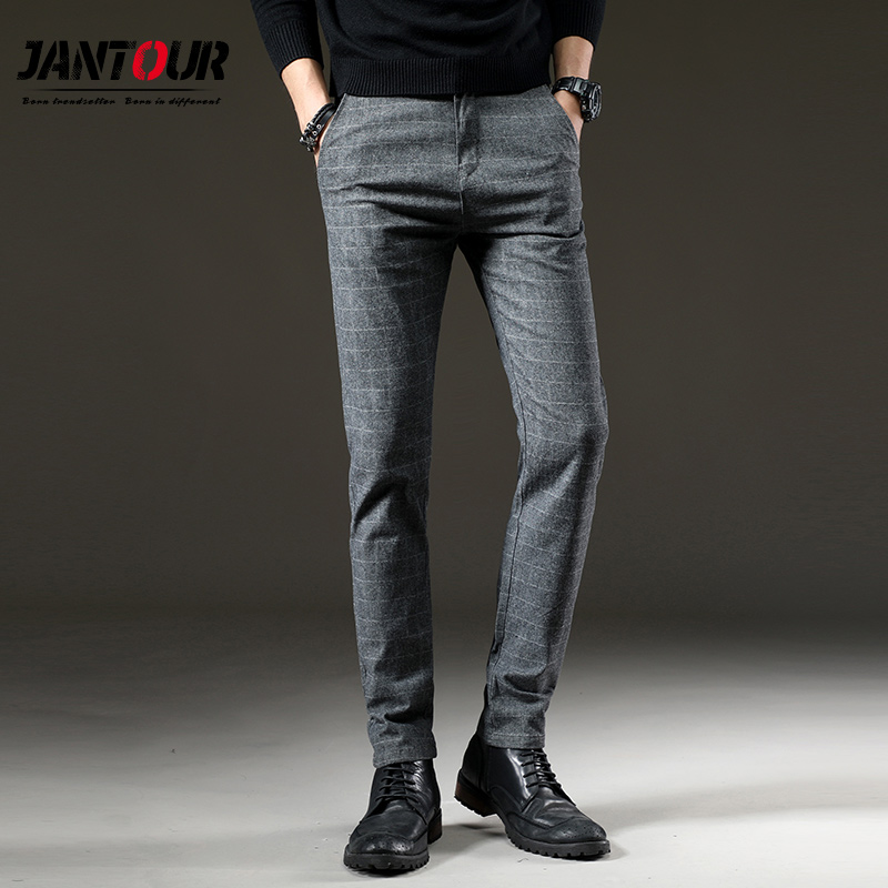 Mens Casual Pants High Quality Brand Work Pants Male Clothing Cotton Formal Plaid Gray Trousers Men Brushed Fabric Size 38 40