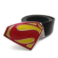 Mens Casual Belts DC Comics Anime Superman Belt Black Faux Leather Belts For Men Superhero Belt