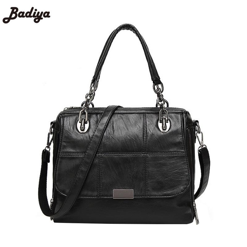 2018 New Sac Bag Office Ladies PU Leather Plaid Shoulder Bag Female Grid Handbag Designer Women Bags for Business Bolsa Feminina