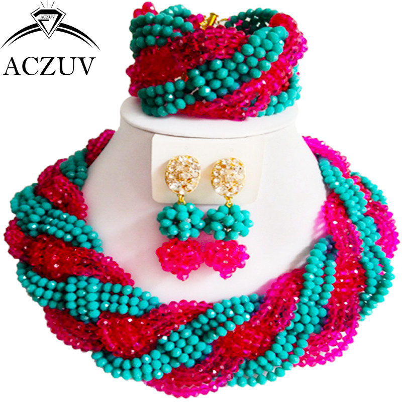 ACZUV Latest Aqua Blue Hot Pink Crystal Twisted Necklace Bracelet and Earrings African Beads Jewelry Set for Wedding A12R004