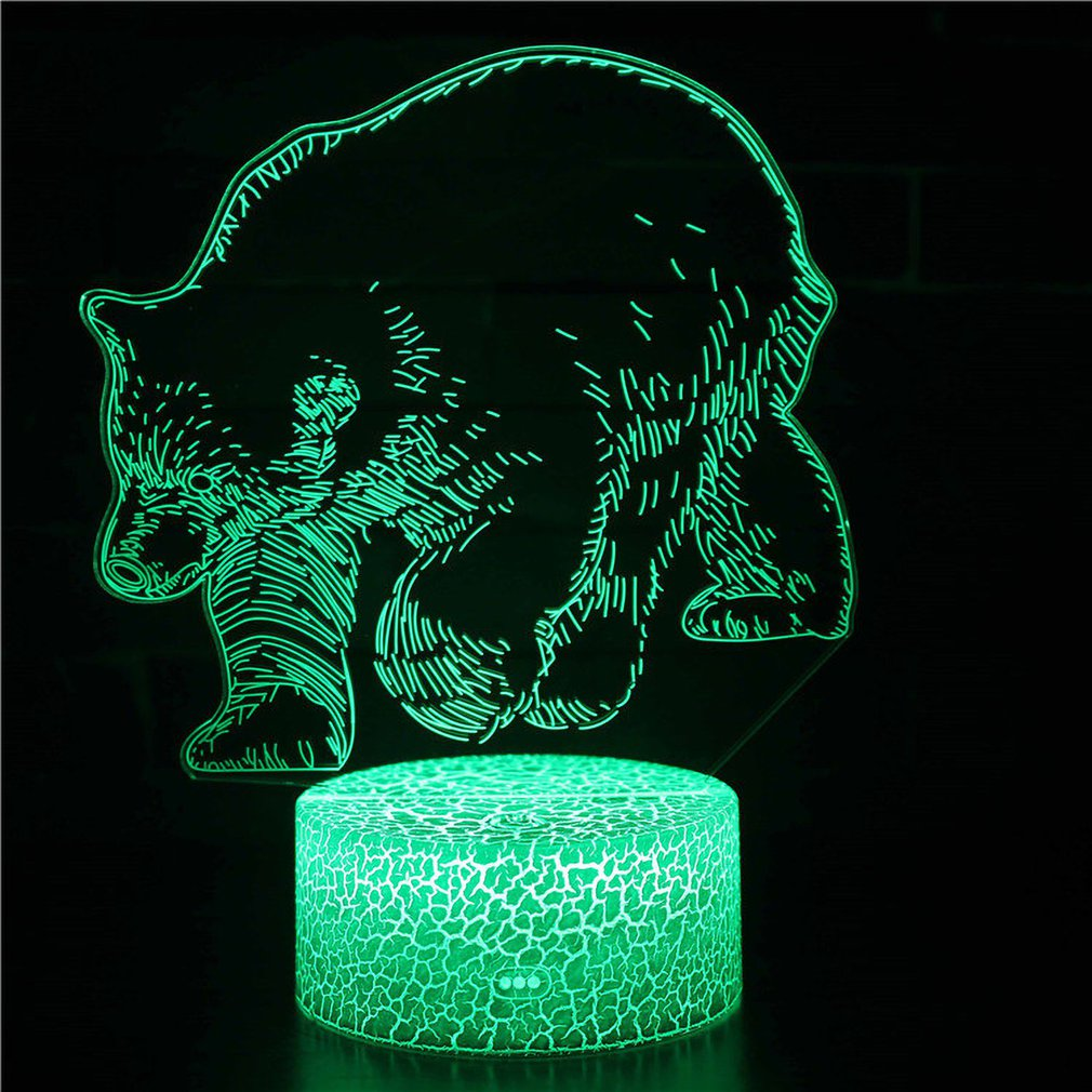 ICOCO Animal Bear Series Gifts 3D Stereo Vision Lamp Acrylic 7 Colors Changing USB Bedroom Bedside Night Light Desk Lamp