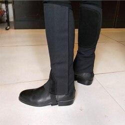 1 Par zapatos de Lona Suave Cuero Ecuestre Equitación Polainas Polainas Pierna Negro negro Cubre Calidad Deportes Protector de La Pierna