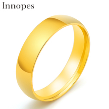 Innopes Fashion Men's women Black gold Titanium Ring Matte Finished Classic Engagement Jewelry For Male Wedding Bands