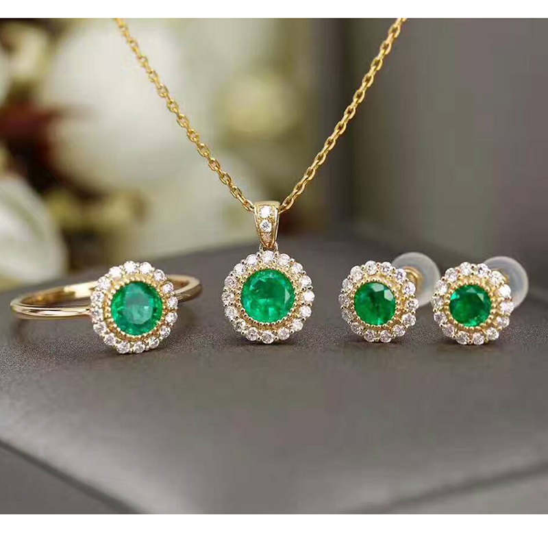 CoLife Jewelry silver emerald jewelry set for wedding natural emerald jewelry solid 925 silver antique emerald