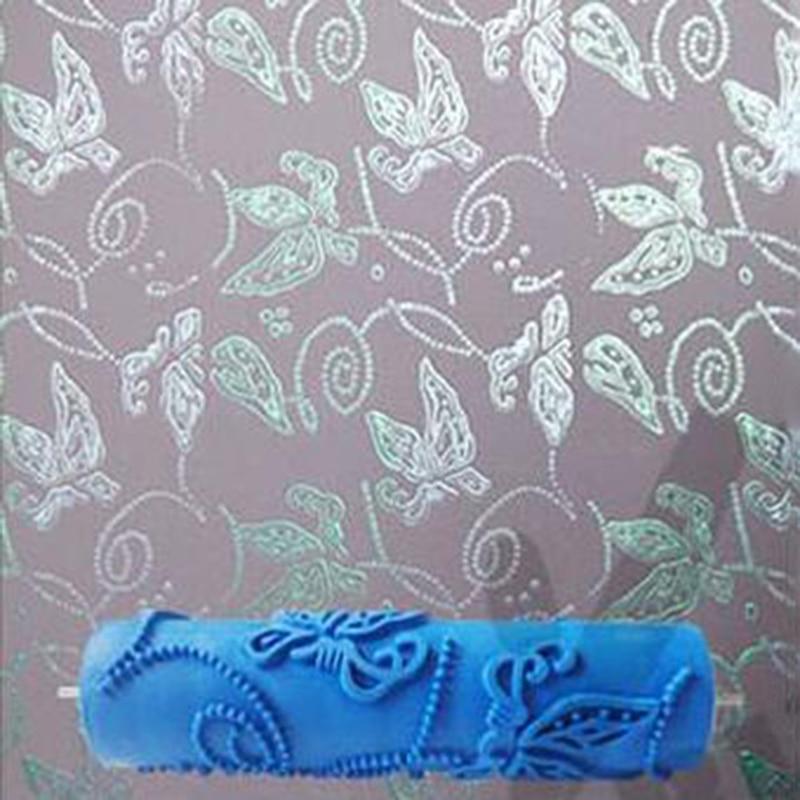 Rodillo de pintura decorativa de pared de goma 3D de 7 pulgadas, rodillo de pintura de pared sin mango, herramientas de papel tapiz de rodillo de mariposa, 116C
