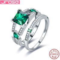 Jrose 100% genuine 925 standard sterling silver green anniversary anniversary pure classic jewelry engagement couple ring