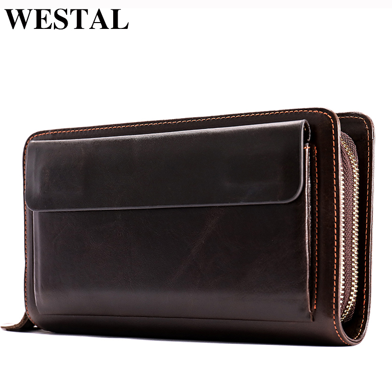 WESTAL Clutch Male Genuine Leather Men's Wallet Purse For Men Long Wallets For Phone/Credit Card Money Bag Wallets Male Purse