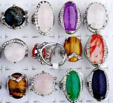 10pcs Women's Wholesale Crystal Rhinestone Natural Stone Silver P Mixed Rings