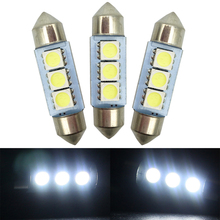 ALL Post Free!! 10PCS 36mm 39mm 41mm White 3 SMD 5050 C5W Car Interior Dome Festoon Light Bulb LED Bulbs Lamp 12V