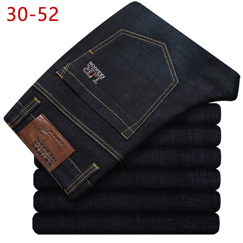 Plus Size 30-52 Mens Spring Autumn Stretch Black Denim   Jeans   Casual Bggy Patns High Quality Designer   Jeans   Men