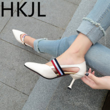 HKJL 2019 new summer in Europe pointed shoes merchandiser side empty stiletto sandals female buckle Asakuchi A276