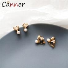 CANNER Romantic Pearl Earrings Korean Heart Fashion Jewelry Gold Stud for Women Sweet brincos FI