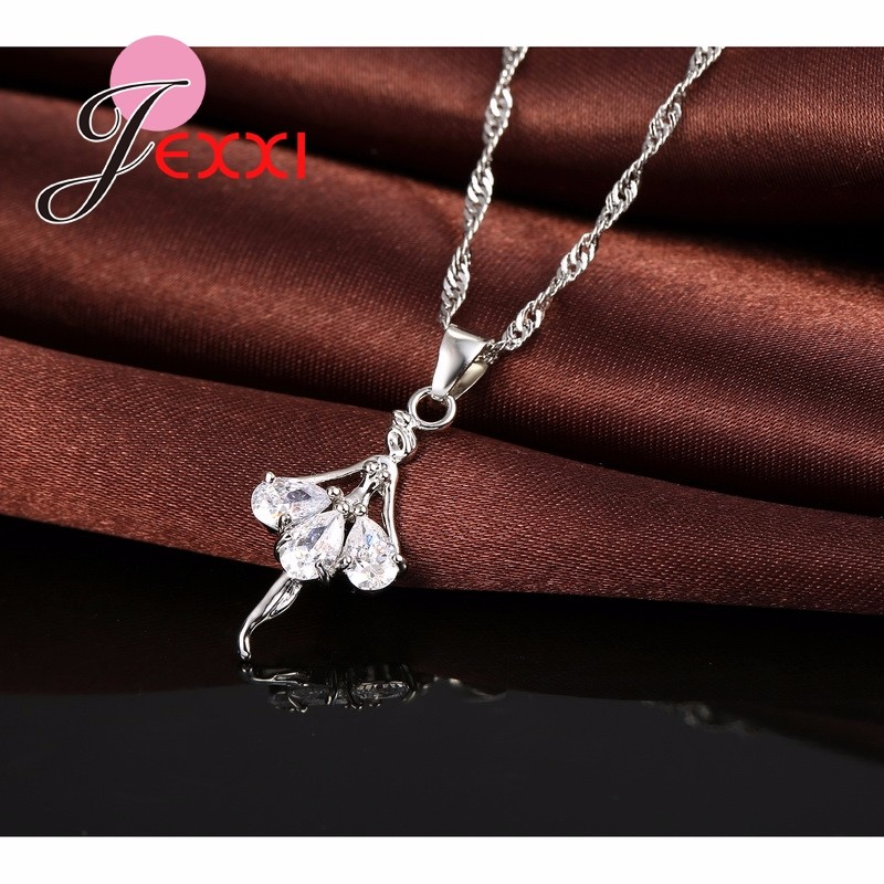 HTB1fo7VJpXXXXbMXVXXq6xXFXXXX - Elegant 925 Sterling Silver Ballerina Necklace Earrings Set With Shiny Crystal Women Girls Wedding Engagement Jewelry Set