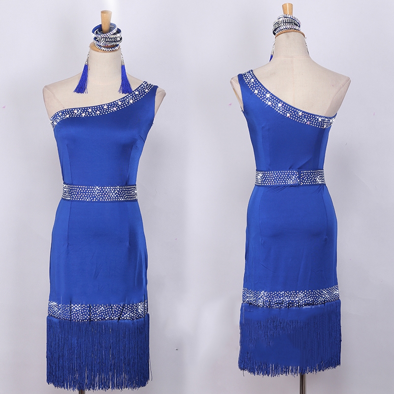 2018 New Latin Dance Dress Women Sexy Blue Tassel Sequins Competition Dresses Samba Tango Clothes Lady Performance Wear DN1942