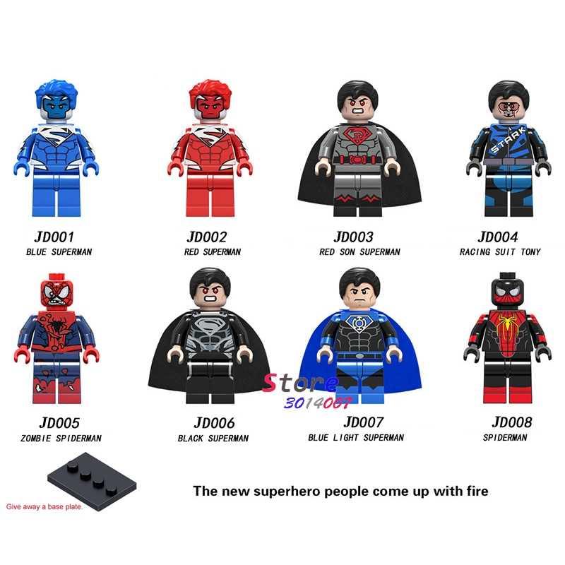 Único Filho Blocos de Construção Luz Azul Vermelho Preto Superman Zumbi Racing Suit Tony Tony Stark brinquedos para as crianças Do Homem Aranha