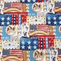 105X100 cm Tecido de Algodão América do Enigma Da Bandeira da Estátua da Liberdade para Feriados Americanos Decoração DIY-AFCK765