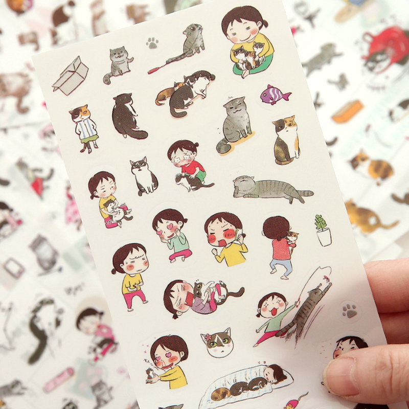 Pack Of 6 Sheets Cute Kawaii Cat Adhesive Stickers Decorative Stick Label Paper Decor School Office Supply Student Stationery