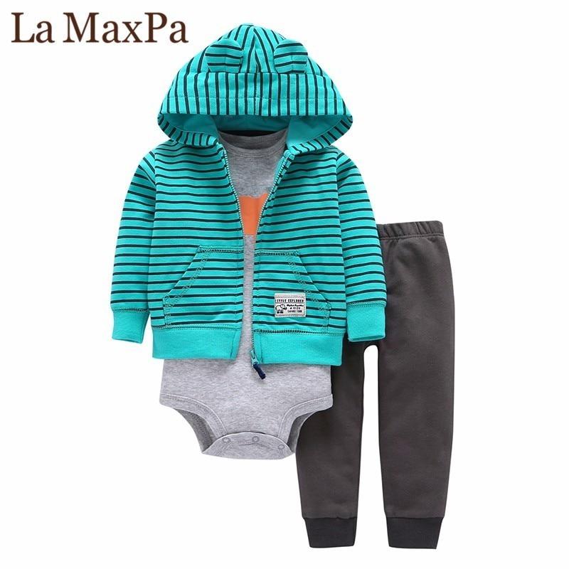18c9580cd1 Újszülött csecsemő fiúcsizma ruhák pamut, teljes ujjú csíkos ...