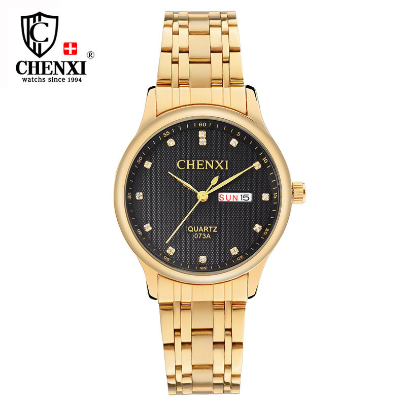 Luxury CHENXI Men Dress Watch Gold Rhinestone Stainle
