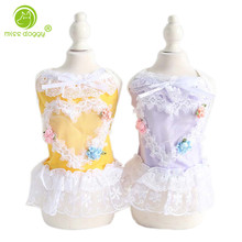 Lovely Lace Heart Shape Pet Dog Dress Cool Sleeveless Comfortable Clothes for Small Dogs Princess Mesh Tutu Skirt Chihuahua 10E