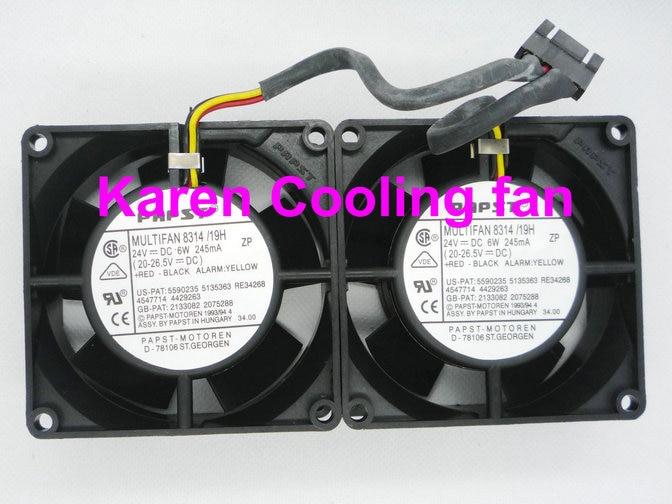 EBM PAPST 8cm  8314/19H 8032 24v 6w 3wire Cooling fan 80*80*32mm set for 2pcs вентилятор охлаждения efb0824ehf 8032 24v 0 35a ct