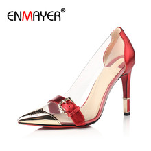 ENMAYER Sexy Red High Heels Pointed Toe Shoes Woman Spring$Autumn Large Size 34-43 Wedding Shoes Genuine Leather Womens Shoes