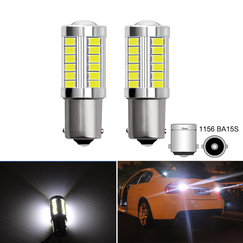 2Pcs P21W 1156 BA15S P21W <font><b>LED</b></font> Turn Signal Bulb Reverse Lamp DRL For <font><b>BMW</b></font> E46 E39 E60 <font><b>E36</b></font> E30 E34 X5 E53 X3 E70 Z3 Z4 3 5 X Series image