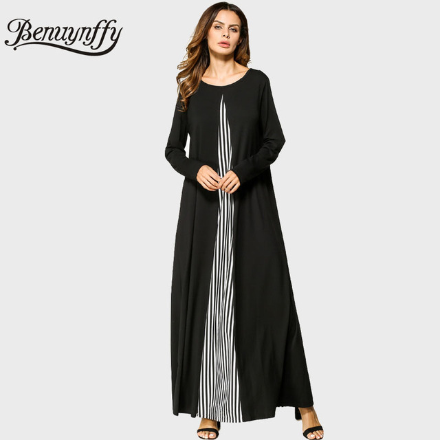 924f3ee276 Benuynffy 2017 Autumn Womens Fashion Color Block Striped Patchwork Dresses  Long Sleeve O-Neck Ladies Casual Maxi Long Dress Q715