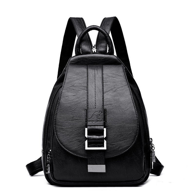 2019 Women Leather Backpacks Vintage Female Shoulder Bag Sac A Dos Travel Ladies Bagpack Mochilas School Bags For Girls Preppy #2