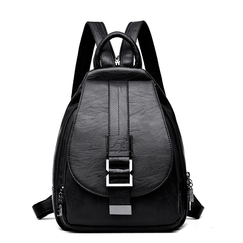 Women Leather Black Vintage Shoulder Bags Backpacks