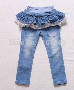 new spring autum 2016 summer fashion children baby kids denim brand jeans skirt pants trousers for girls with ruffles lace