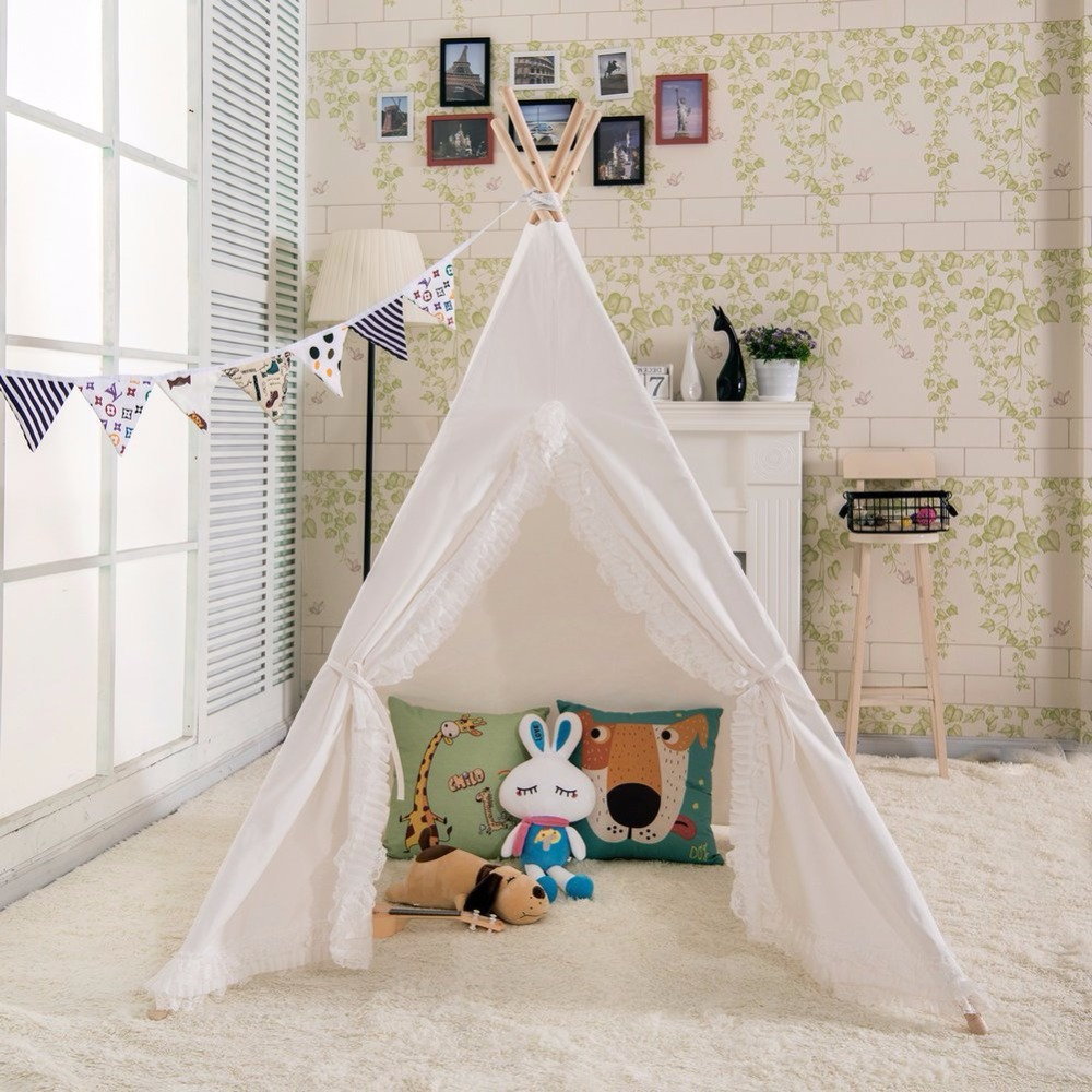 Plain White Teepee with Ruffled Lace doors Kids Teepee Tent Childrens Play Tent Tipi Tent pink clouds teepee tent indoor childrens play tipi