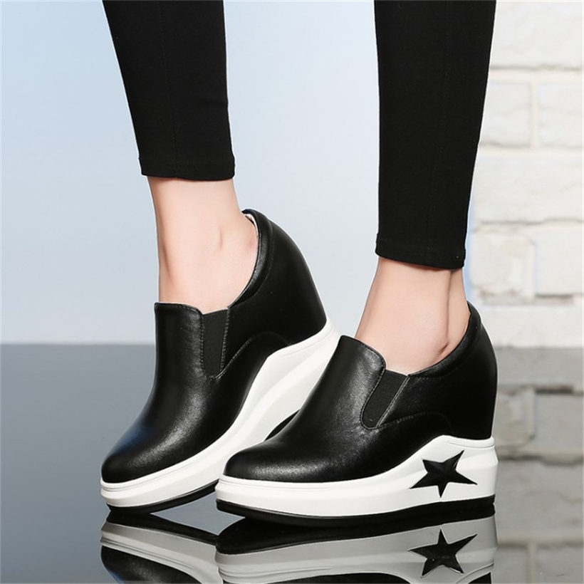 NAYIDUYUN New Wedge High Heels Womens Casual Shoes Cow Leather Round Toe Fashion Sneakers Platform Oxfords Shoes Party Pumps bamboo womens driven 77 casual wedge